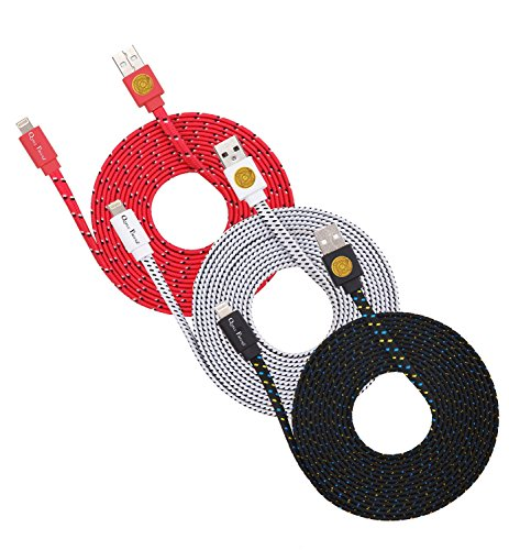 (3PK) 3M Flat Braided Lightning 8 Pin Sync Cable Charger Plug for iPhone 6S, 6 -RedWteBlk (Plug Pin Flat)