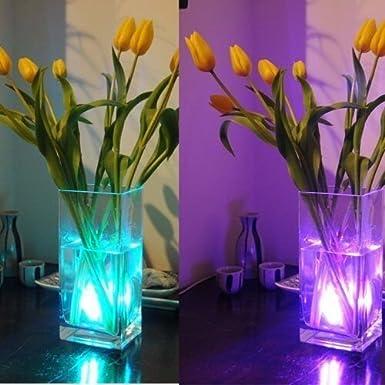 Ulako luz impermeable con 10 LED para jarrones, impermeable, multicolor, RVA, sumergible, submarina, durable y práctica, bombilla para casa o boda, ...