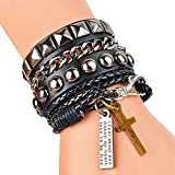 Y-BLUE Leather and Rope Bracelet Unisex Cool Fashion Punk Multilayer Cuff Lettering and Cross