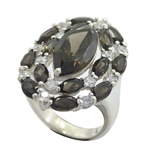 Gemsonclick Real Smoky Quartz Ring Silver 925 Marquise Cut Cluster-setting Handmade Size 5,6,7,8,9,10,11 ()