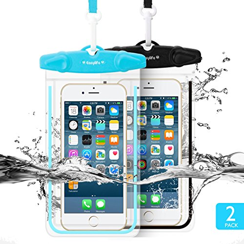 "Universal Waterproof Case, FITFORT 2 Pack Universal Dry Bag/ Pouch,Clear Sensitive PVC Touch Screen,for iPhone 7/6/6S Plus/5/5s/5c Galaxy S7/S7 Edge/S6/S5/S4 Note 4/3 LG G5/G3 Up To 5.5 ""(Black+Blue)"
