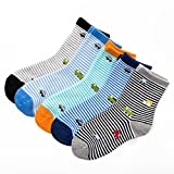 Boys Short Socks Fashion Military Vehicles Cotton Basic Crew Kids Socks 5 Pair Pack