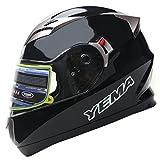 YEMA Helmet YM-829 Dual Viosr Full Face Motorcycle Helmet-Black, Medium