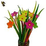 BUOP 24-Count [12+12] Bouquet of Plumeria Rubra Assorted Color Flower Pen, Novelty Design Flower Arrangement Style Extra Fine Gel Pen of Grass and Plumeria Rubra
