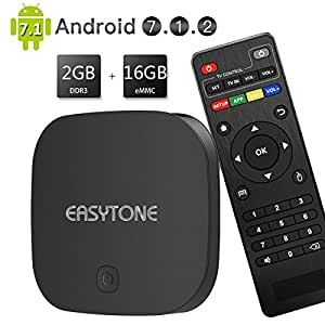 EASYTONE Android 7.1 TV Box 2GB RAM 16GB ROM Quad Core CPU,T95D Media Player Supporting 4K Full HD/H.265/3D Outputs Game Player Smart TV Box with WiFi LAN BT