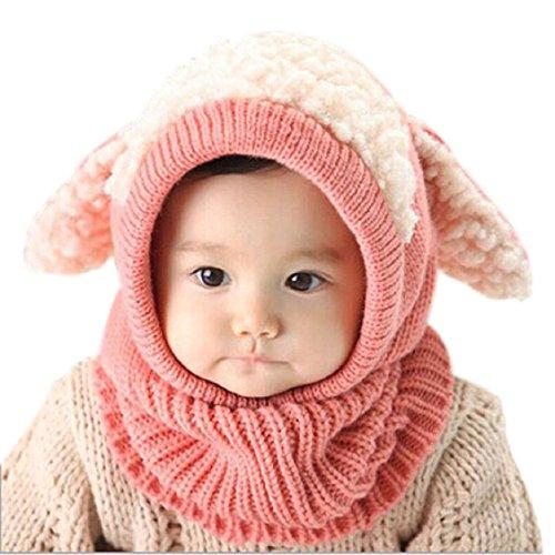 Christmas Gift, Egmy Winter Baby Kids Girls Boys Warm Woolen Coif Hood Scarf Caps Hats (Pink)