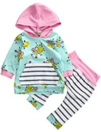 Baby Girl 2pcs Set Outfit Flower Print Hoodies with...