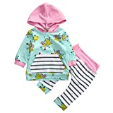 Baby Girl 2pcs Set Outfit Flower Print Hooded with Pocket Top+Striped Long Pants (2-3T, Green)