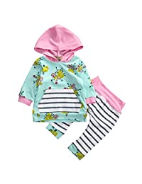 Baby Girl 2pcs Set Outfit Flower Print Hoodies with Pocket Top+Striped Long Pants (6-12M, Green)