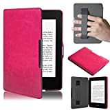 (US) Case for New Amazon Kindle Paperwhite 5,Muxika Kids Shock Proof Ultra Slim Leather Portable Handle Super Protective Stand Cover for New Amazon Kindle Paperwhite 5 (Hot Pink)