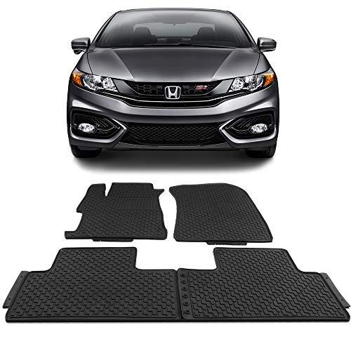Floor Mats Fits 2012-2015 Honda Civic Sedan   Latex Rubber All Seasons Weather Interior Heavy Duty Carpets Black Full Set Front and Second Row By IKON MOTORSPORTS