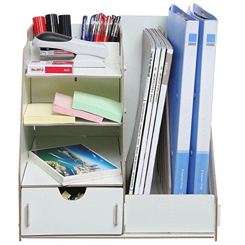 All-in-One Beige Wood Desktop Organizer Rack w/ 2 Magazine Holder, Drawer, Shelf Cubbies & Office Supply Holder Photo #4