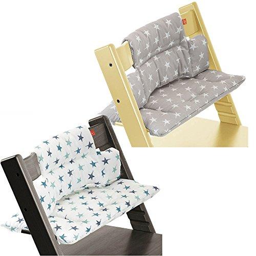 Stokke Tripp Trapp High Chair Cushion Set - Grey Star & Aqua Star (Stokke High Chair Cushion)