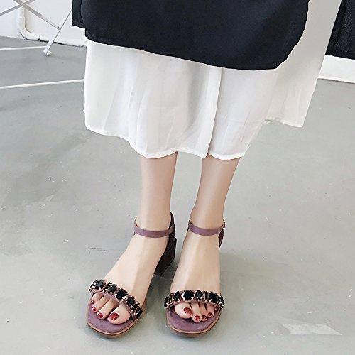 YMFIE Verano Nuevo Elegantes y Confortables Suede Irregular con Taladro de Agua Toe Toe Sandalias Zapatos de Trabajo Violet