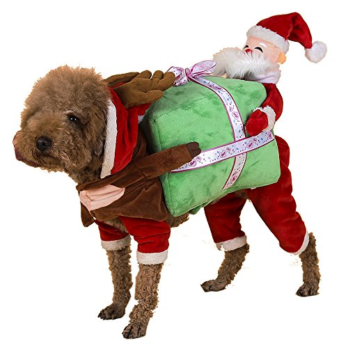 Funny Pet Dog Cat Clothes - Pet Christmas Dress Up Carrying Gift Santa Claus Fancy Puppy Apparel Jacket (Dog Mario Costume)