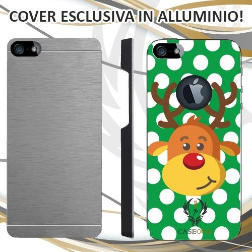 CUSTODIA COVER CASE CASEONE RENNA CHRISTMAS VERDE PER IPHONE 5 5S IN ALLUMINIO