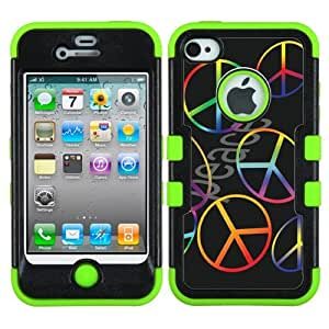 One Tough Shield ? 3-Layer Design Hybrid phone Case (Black/Green) for Apple iPhone 4 4s - (Peace Color)
