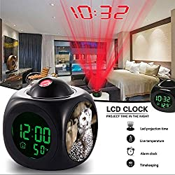 Girlsight Alarm Clock Multi-function Digital LCD Voice Talking LED Projection Wake Up Bedroom with Data and Temperature Wall/Ceiling Projection,owl-220.large picture(25)