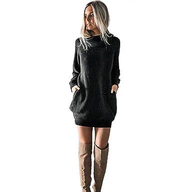 KOLY da Donna Abito Maglia Mini Abito da Donna Spring Autunno Vestiti  Rotondo Collo Manica Lunga 64ada883c85