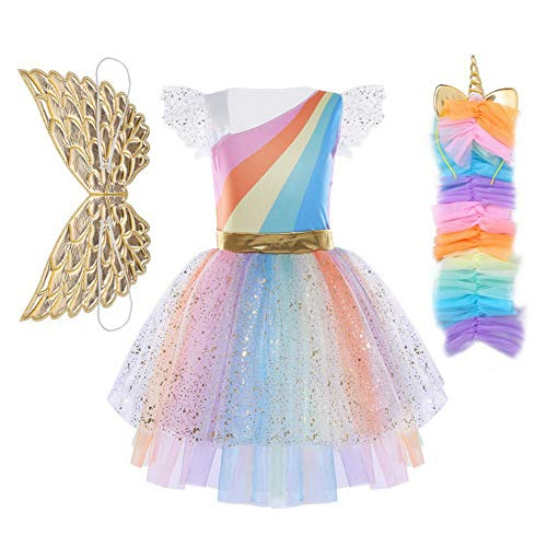 Girls Unicorn Mesh Tulle Tutu Dresses Costume with Hair Hoop Gold Wings Set for Birthday Theme Party Cosplay (S) ()