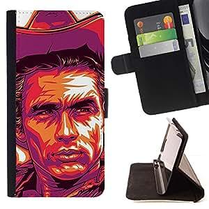 Momo Phone Case / Flip Funda de Cuero Case Cover - Cowboy Violet Yellow Man Far West - LG G2 D800