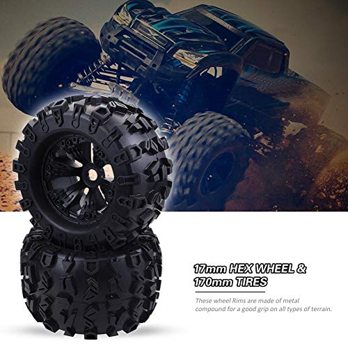 (Dailyfun 1: 8 RC Monster Truck Wheel 2|4pcs, 17mm Hex Wheel & 170mm Tire HPI Savage Flux Hsp | Black, Tire Rubber & Rim Plastic, Durable )