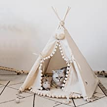 Luxury Pompon Pet Teepee House - 28 Inch Beige Elegant Cat Dog Puppy Snuggle Canvas Tent Bed Furniture By Wonder Space