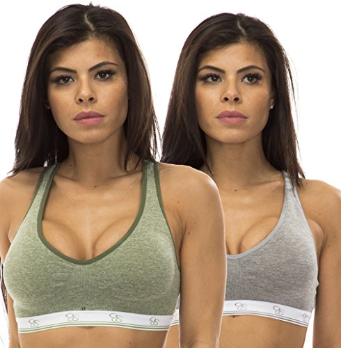 Jessica Simpson (5071757JS) Womens Comfort Cotton Spandex Racerback Lounge Bra - 2 Pack Size: Small In Grey/Olive (301)