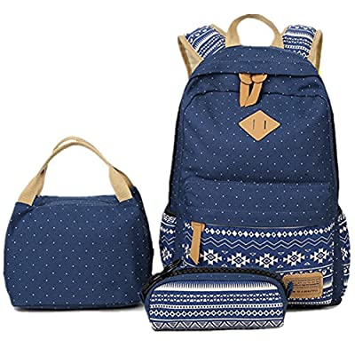 228ef363df5 high-quality BLOOMSTAR Bohem Canvas School Backpack Laptop Bag + Lunch Bag  + Pencil Case