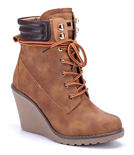 Schuhtempel24 Damen Schuhe Keilstiefeletten Stiefel Stiefeletten Boots Keilabsatz 8 cm Camel