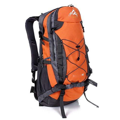 LQABW Hombre De Hombro 40L Del Alpinismo Del Paquete Mujeres Viajan A Prueba De Agua Al Aire Libre Mochila,Green Orange