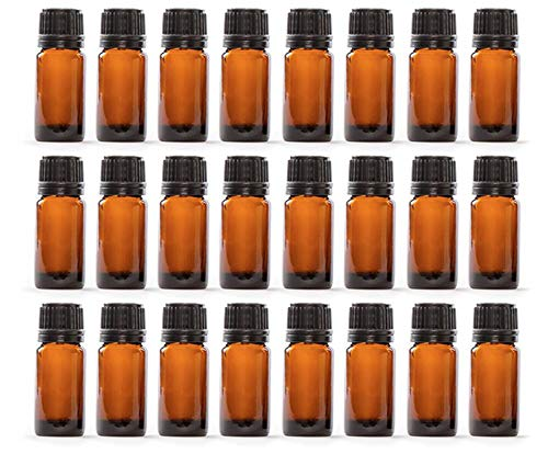 10 ml Amber Glass Essential Oil Bottles with Euro Dropper & Tamper Evident Caps Set of 24