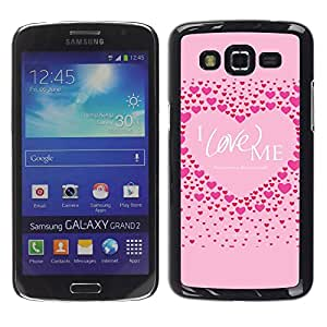 Paccase / SLIM PC / Aliminium Casa Carcasa Funda Case Cover para - Pink Love Me Heart Inspirational Quote - Samsung Galaxy Grand 2 SM-G7102 SM-G7105