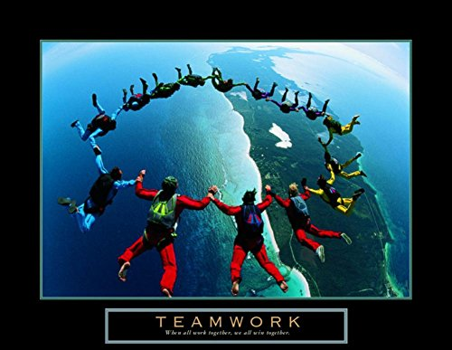 Teamwork Skydiving Ring Motivational Poster Inspirational Art Print, Collections Print