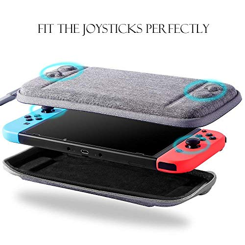 Nintendo Switch Slim Case and Tempered Glass Screen Protector Protective Travel Carrying Case with 10 Game Cartridges Hard Shell Pouch for Nintendo Switch Console and Accessories by MayBest Gray
