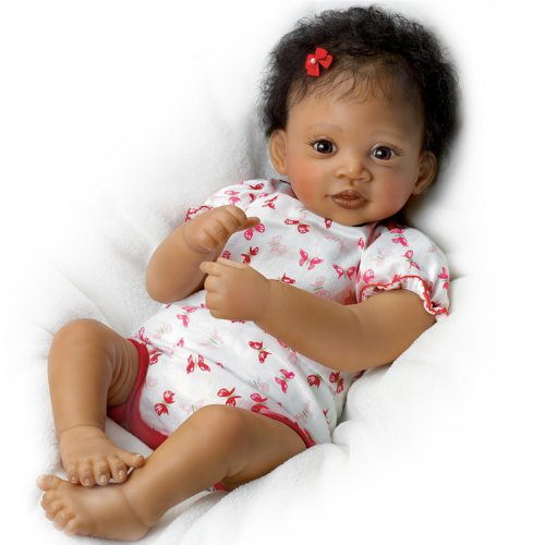 Sweet Butterfly Kisses Coos At Your Touch with Hand-Rooted Hair - So Truly Real® African-American Lifelike, Interactive & Realistic Newborn Baby Doll 19-inches by The Ashton-Drake (Ashton Drake Newborn Doll)