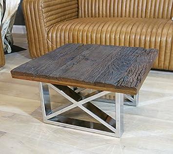 Vintage Wohnzimmertisch Couchtisch Tisch Schwemmholz Treibholz Möbel Maison  Chrom Deko (70x37x70)