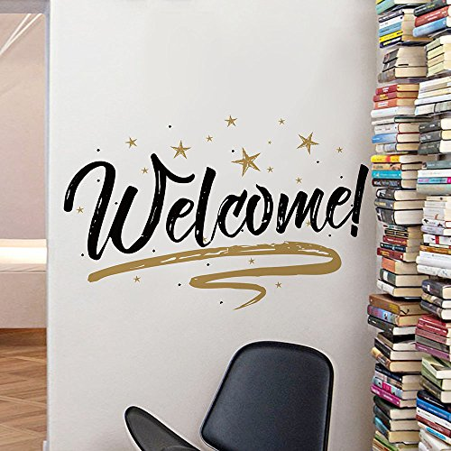 Woodland Arts 22 x 15 Gold and Black Welcome Home Stars Wall Door Vinyl Removable Decals Stickers for Living Room Bedroom Nursery Classroom (Welcome Stars)