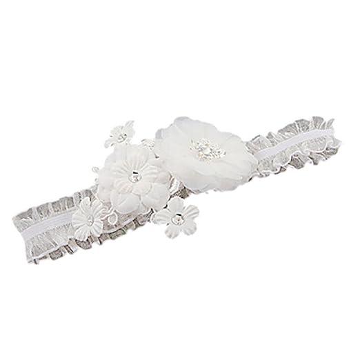 Accesorio de la boda de novia blanco diamante flor de cinco liga nupcial