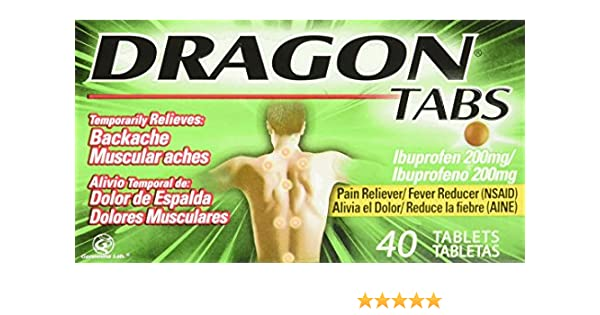 Amazon.com: Dragon Pain Relief Ibuprofen Tablets 200 Mg, 40 Count: Health & Personal Care