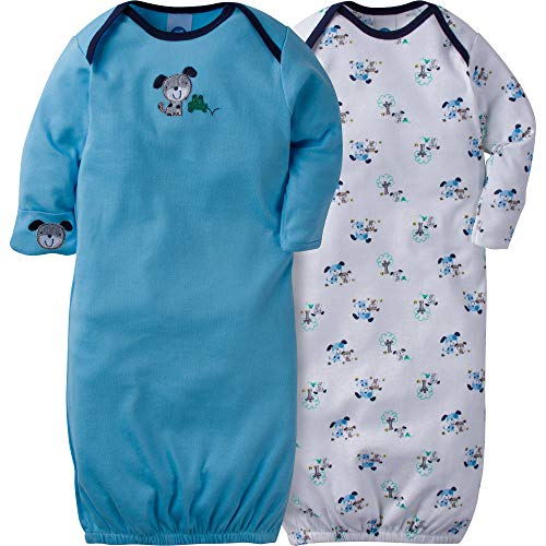 Shoulder Gown Lap - Gerber Unisex Baby 2 Pack Gown (0-6 Months, Dog)