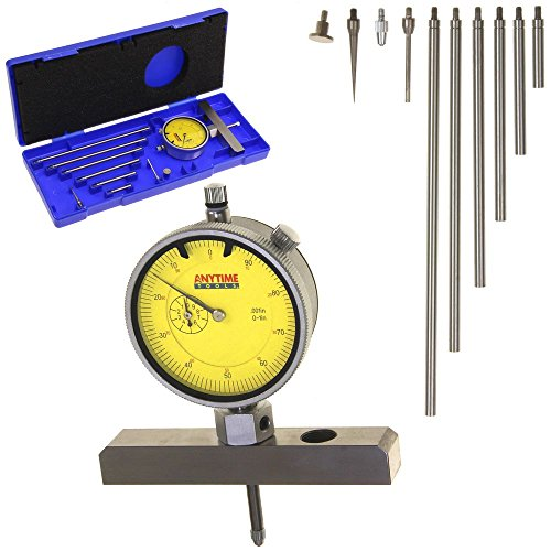 "Anytime Tools Depth Gauge Dial Indicator 0-22"" Measuring Range, 0.001"" Resolution, 2-Position Base"