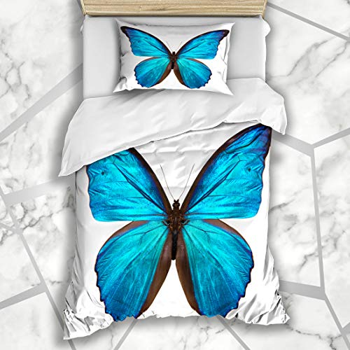 Ahawoso Duvet Cover Sets Twin 68X86 Small Blue Flower Butterfly White Nature Monarch Pink Black Wing Pattern Biology Bug Design Microfiber Bedding with 1 Pillow Shams