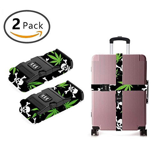 YEAHSPACE Luggage Strap Marijuana weed Skull 2PC Set Suitcase Betlt Travel Belts With 3-dial TSA Combination Lock by YEAHSPACE