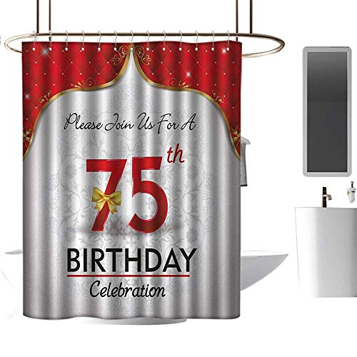 Qenuan Polyester Fabric Shower Curtain 75th Birthday,Royal Birthday Party Floral Invitation Ceremony Please Join Us,Gold Vermilion Silver,Eco-Friendly,Bathroom Curtain 54