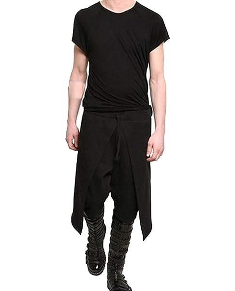Joyplay Pantalones Goticos De Hombre Estilo Punk Negro Suelto Pantalones Divididos Con Cordon De Ajuste Relajado De Harem Pantalones