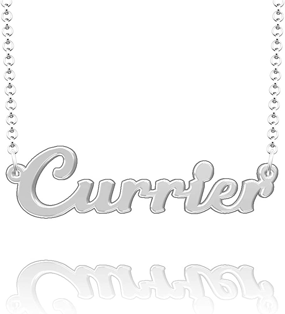 LoEnMe Jewelry Currier Name Necklace Stainless Steel Plated Custom Made of Last Name Personalized Gift for Family