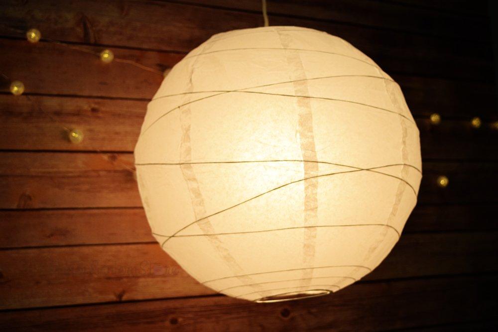PaperLanternStore.com 42'' White Round Paper Lantern, Crisscross Ribbing, Hanging (6 Pack)