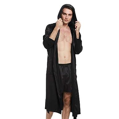 b16b89f09bc0 LilySilk Mens Robe Silk Hood Long Kimono Pure Luxury 22 Momme Silk Sexy  Male Bathrobe Loungewear
