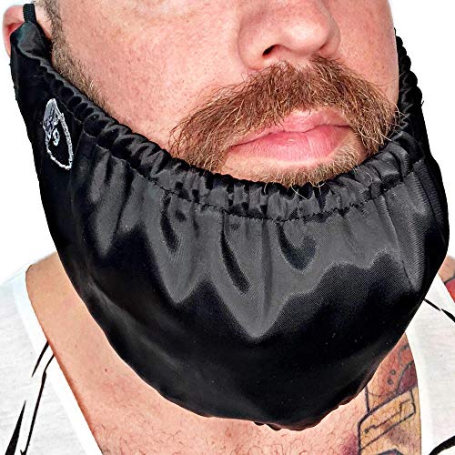Beard Bandana - Mens Bedtime Bib - Adjustable Facial Hair Apron Guard Bonnet Beard Rag - Beard Gains (Short String Over Ear) ()